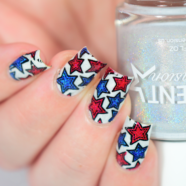 Red, White, Blue And Stars! nail art by Crystal (Seriously Lacqueing)