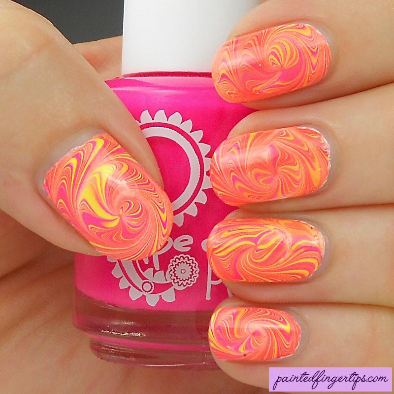 Neon pink and yellow swirls nail art by Kerry_Fingertips