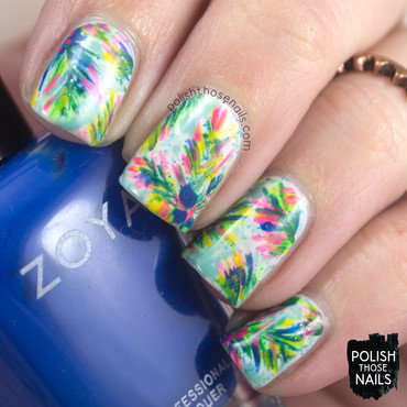 Neon tropical rainforest tree pattern nail art 4 thumb370f