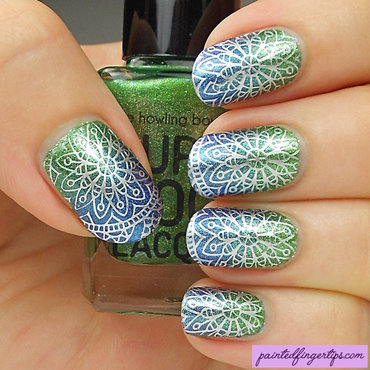 Stamping over a gradient nail art by Kerry_Fingertips