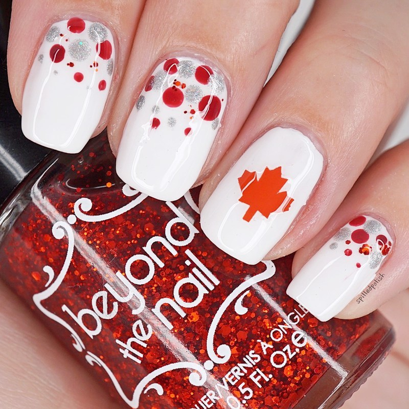 Canada Day Dotticure nail art by Maddy S