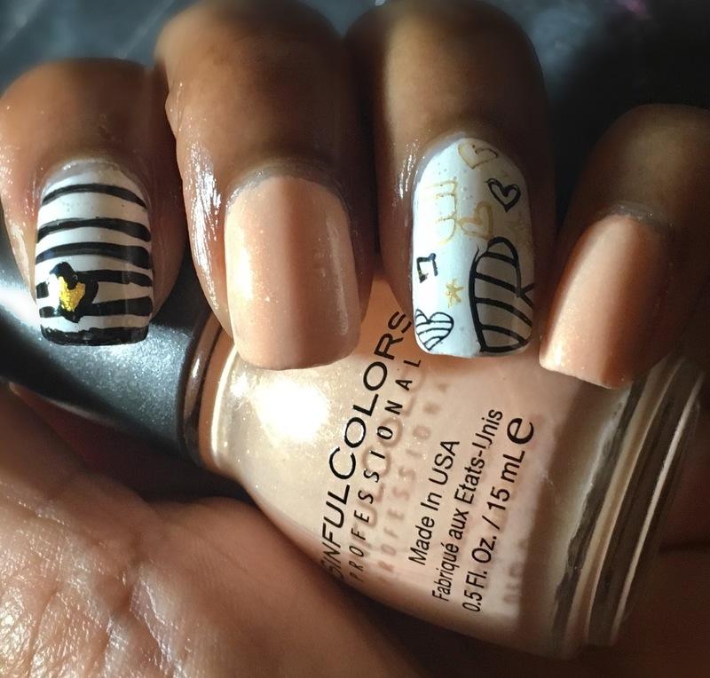 Peachy Keen nail art by Chloe Jay