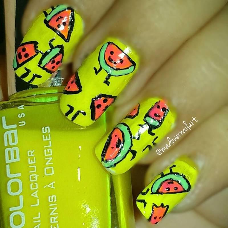 cute neon watermelon nail art nail art by madovernailart