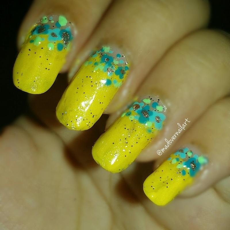 Half moon floral nail art nail art by madovernailart