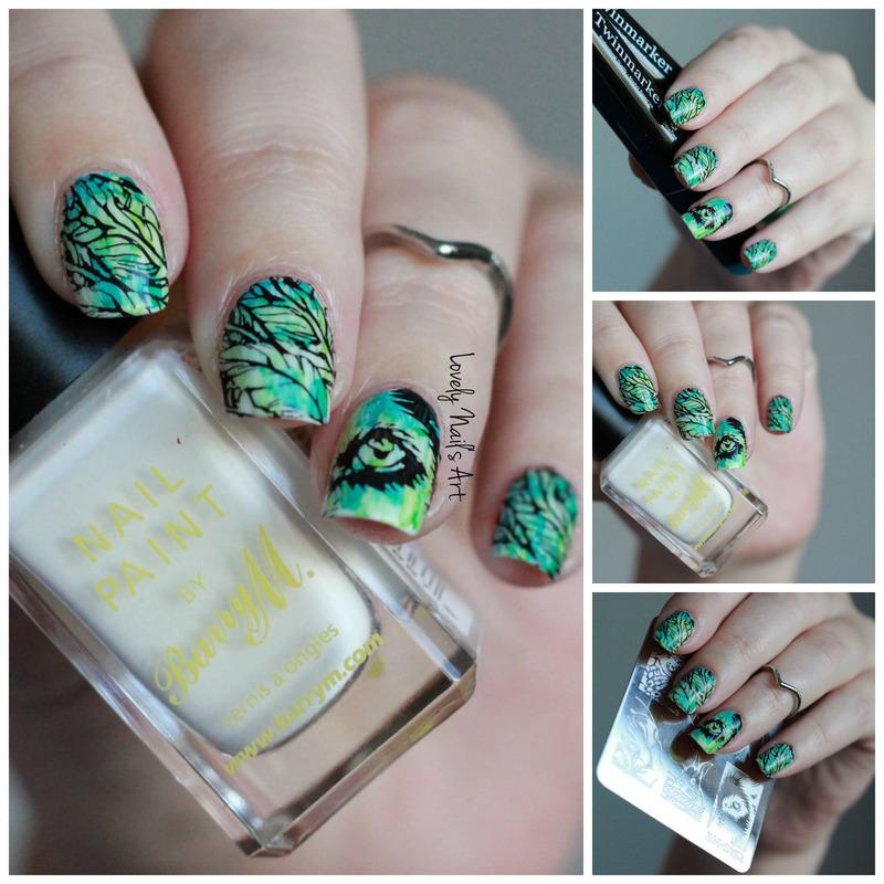 Nail art stamping tropical nail art by Lovely Nail's  Art