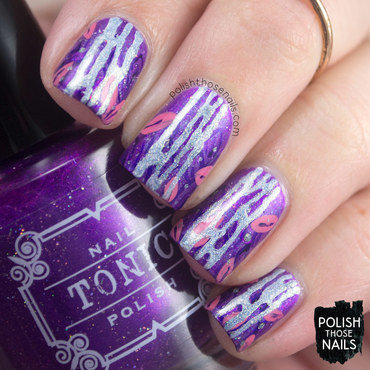 Purple sparkle leaves holo blue waterfall pattern nail art 4 thumb370f