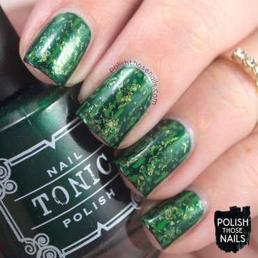 Green shimmer saran wrap pattern nail art 4 thumb370f
