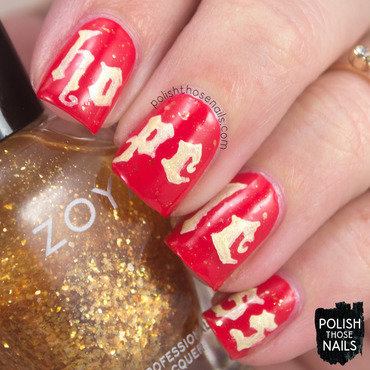 Halsey hopeless red gold type music nail art 4 thumb370f