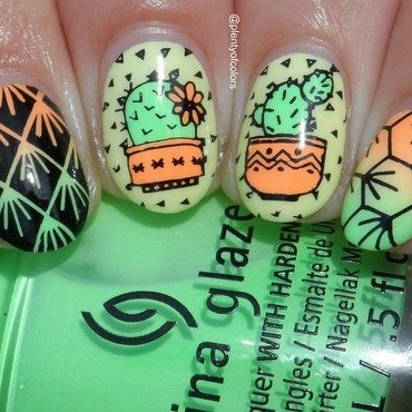 Kakteenliebe nail art by Plenty of Colors