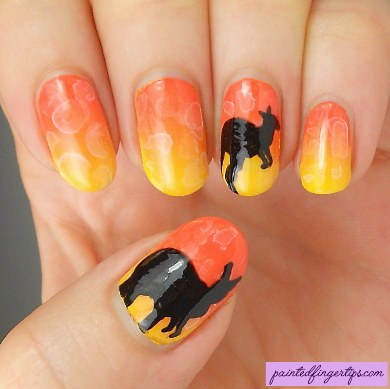 Kangaroo nails nail art by Kerry_Fingertips