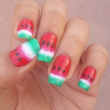watermelon Nails 🍉 nail art by nailsofkh