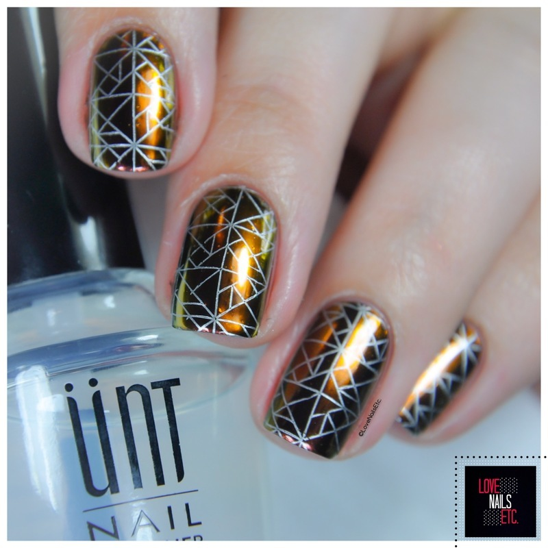 Stamping on chrome base nail art by Love Nails Etc