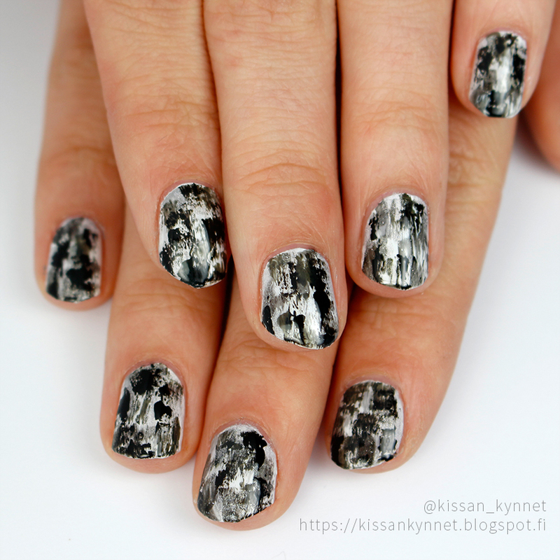 Distressed in black and white nail art by Yue