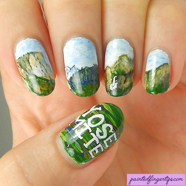 Yosemite scene nail art by Kerry_Fingertips