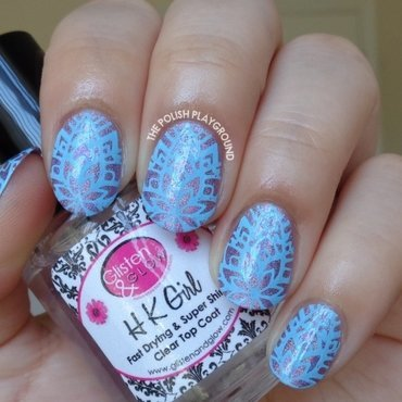 Purple Holo with Blue Abstract Floral Stamping nail art by Lisa N