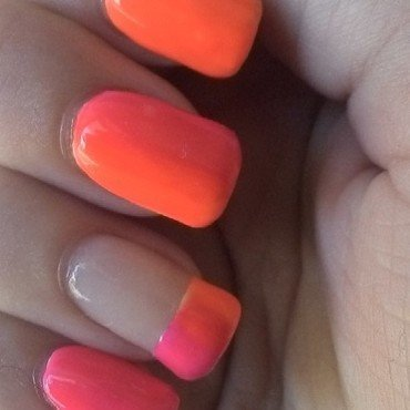 Neon Ombre nail art by Kristyna