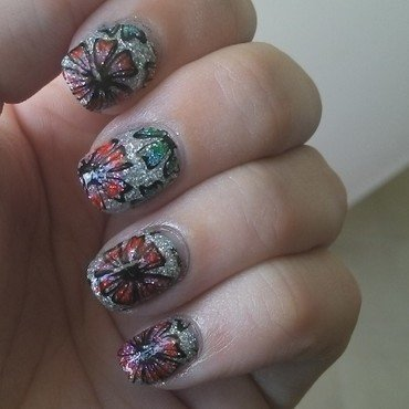 Holo Flowers with Sharpies nail art by Kristyna