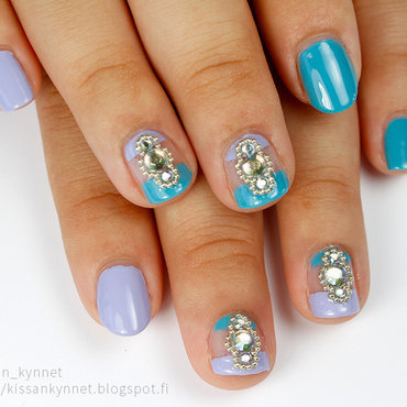 Negative Space And Rhinestones nail art by Yue