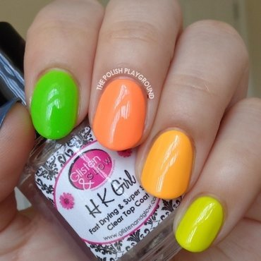 Summer Neon Skittle nail art by Lisa N