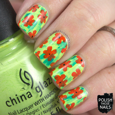 Neon green distressed orange floral flower scooby doo nail art 4 thumb370f