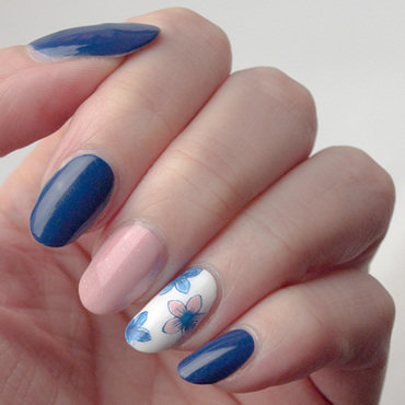 Blue and peach floral nail art by What's on my nails today?