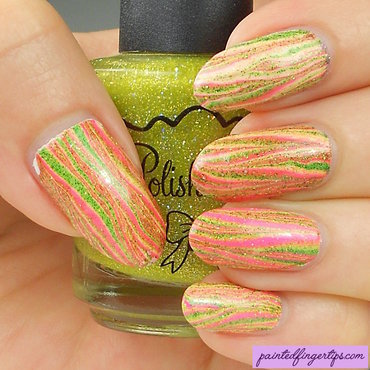 Striped water marble in fun colours nail art by Kerry_Fingertips