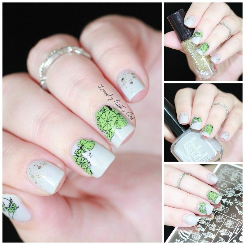 Nail art stamping plantes nail art by Lovely Nail's  Art