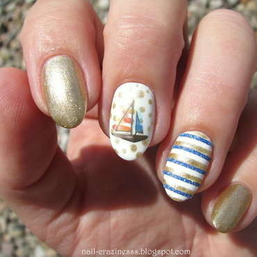 Sailboat nail art by Nail Crazinesss