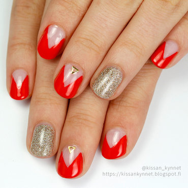 Red Triangle Manicure nail art by Yue