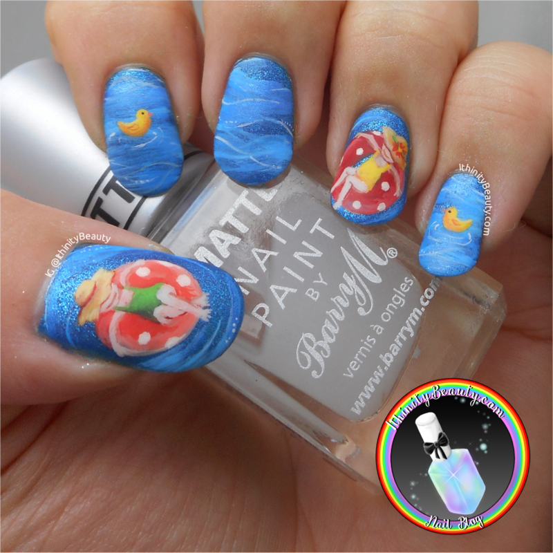 Summertime Swimming Pool nail art by Ithfifi Williams