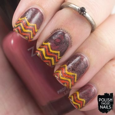 Brown marsala earth tone zig zag nail art 4 thumb370f