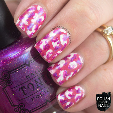 Bright pink tonic blob pattern nail art 4 thumb370f