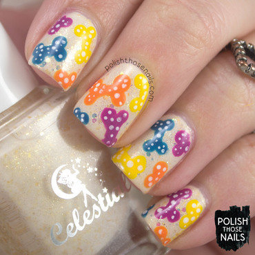 Neutral sparkle dog bone polka dot pattern nail art 4 thumb370f
