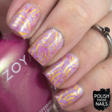 Lilac pink gold abstract pattern nail art 4 thumb370f