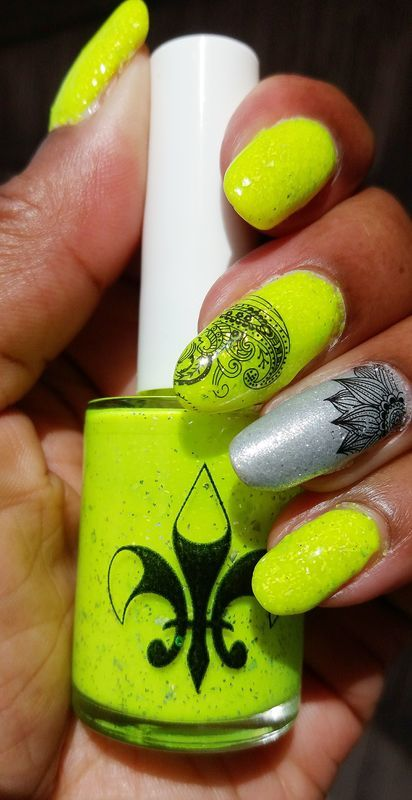 Highlighter Yellow Love nail art by Jackie Bodick