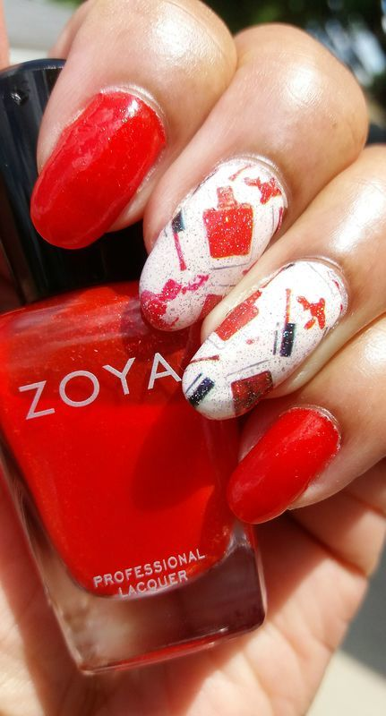 Red Polish nail art by Jackie Bodick