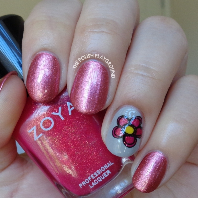 Metallic Rose with Floral Decal Accent nail art by Lisa N