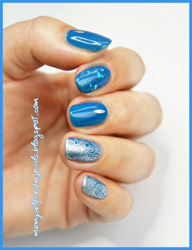 Lace in blue nail art by ELIZA OK-W