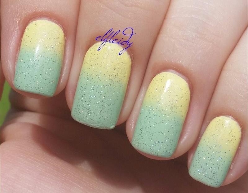 Sparkling lemon-lime nail art by Jenette Maitland-Tomblin
