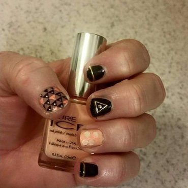 Peachy Black Abstract nail art by Jill Thompson