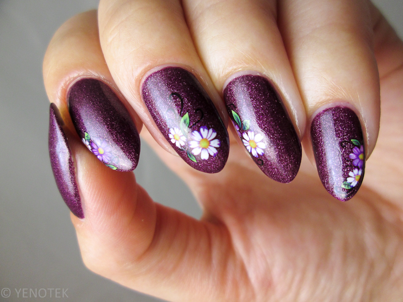 violet with water decals nail art by Yenotek