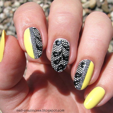 Lace with glitter tape nail art by Nail Crazinesss