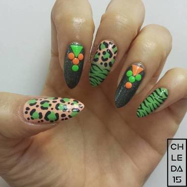 Neon Leopard & Electric Tiger nail art by chleda15