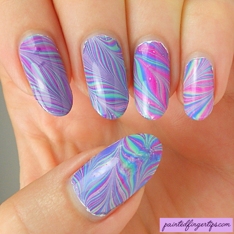 Water marble in green, purple and blue nail art by Kerry_Fingertips