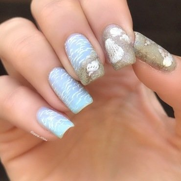 Seashells on the beach  nail art by Happy_aries