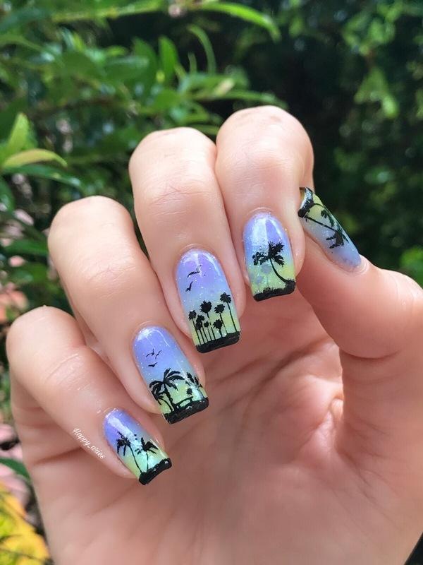 South beach Miami Palm Trees nail art  nail art by Happy_aries
