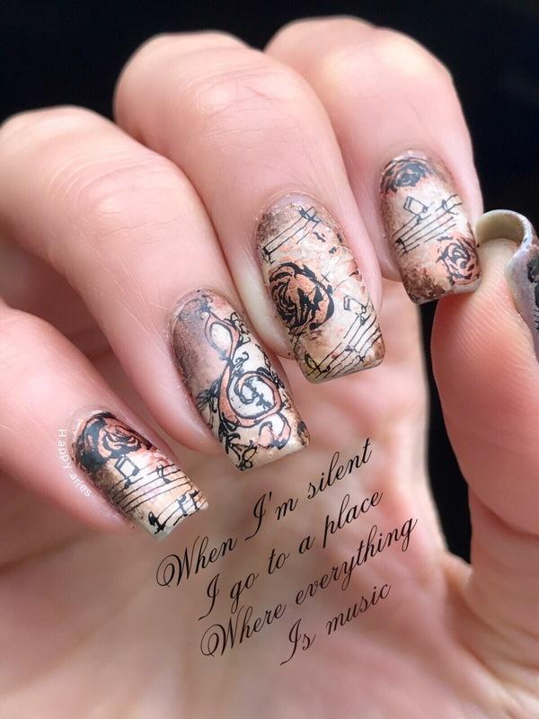 Vintage music nail art  nail art by Happy_aries