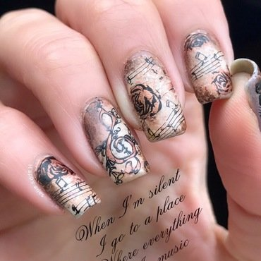 Vintage music nail art  nail art by Happy_aries