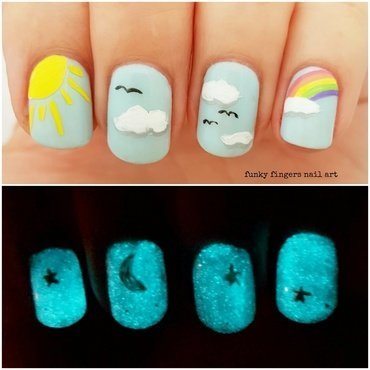 Day and night nails nail art by Funky fingers nail art