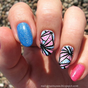 Neon and geometry nail art by Nail Crazinesss